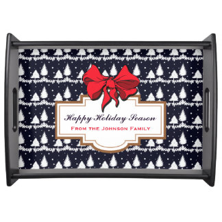 Pine Trees and Snow Happy Holiday Season Family Serving Tray