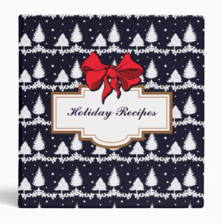Pine Trees and Snow Happy Holidays Holiday Recipe Binder