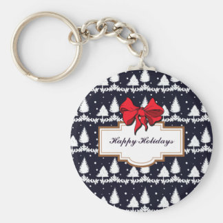 Pine Trees and Snow Happy Holidays Keychain
