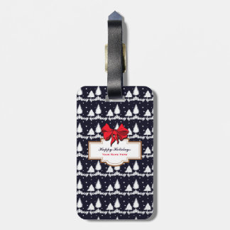 Pine Trees and Snow Happy Holidays Luggage Tag