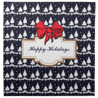 Pine Trees and Snow Happy Holidays Napkin