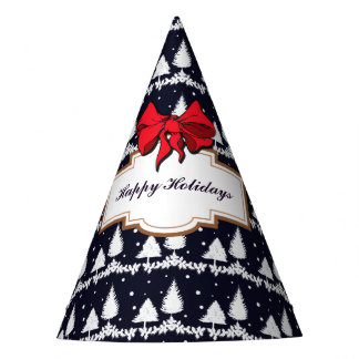 Pine Trees and Snow Happy Holidays Party Hat