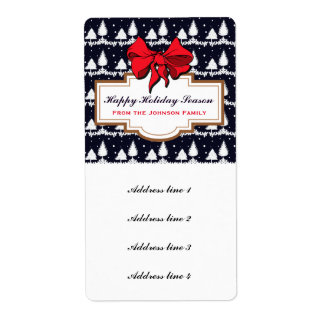Pine Trees and Snow Happy Holidays Shipping Label