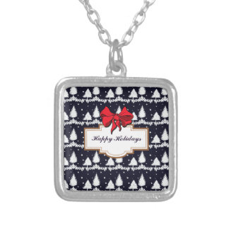 Pine Trees and Snow Happy Holidays Silver Plated Necklace