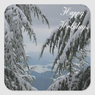 Pine Trees and Snow - Happy Holidays Square Sticker