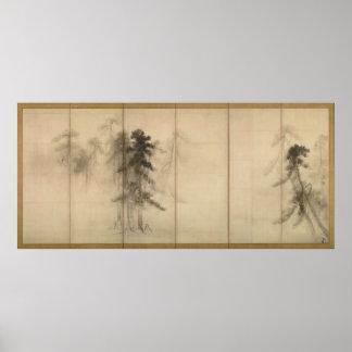 Pine Trees by Hasegawa Tohaku 16th Century Poster