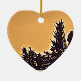 Pine Trees in Denver, CO Ceramic Heart Ornament