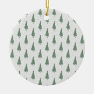 Pine trees in winter ceramic ornament