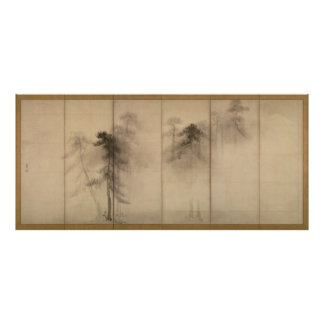 Pine Trees Left Hand Screen by Hasegawa Tohaku Poster