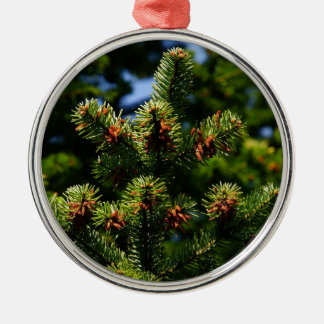 Pine trees Silver-Colored round ornament
