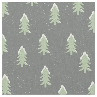 Pine trees snow pattern - Christmas gifts Fabric