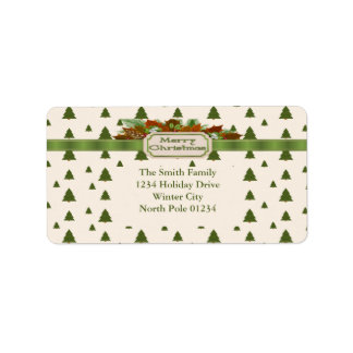 Pine Trees with Merry Christmas Ribbon