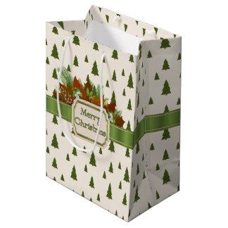 Pine Trees with Merry Christmas Ribbon Medium Gift Bag