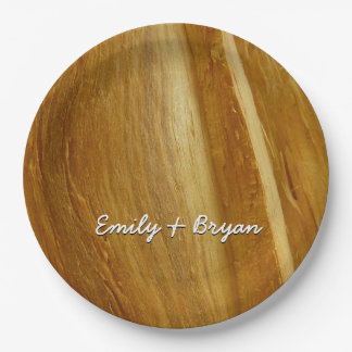 Pine Wood II Faux Wooden Texture Paper Plate