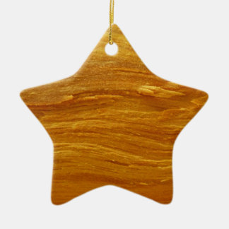 Pine Wood III Abstract Natural Tree Look Design Ceramic Star Ornament