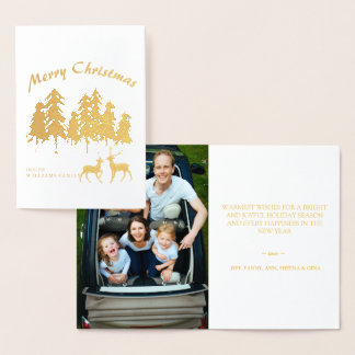 Pine Woods Forest Reindeer Photo Merry Christmas Foil Card