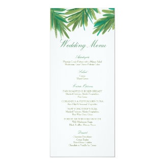 "Pine Woods Watercolor   Wedding Menu 4"" X 9.25"" Invitation Card"