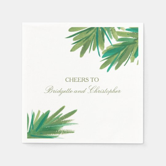 Pine Woods Watercolor | Wedding Reception Disposable Napkins
