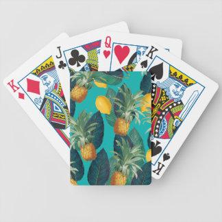 pineaple and lemons teal bicycle playing cards