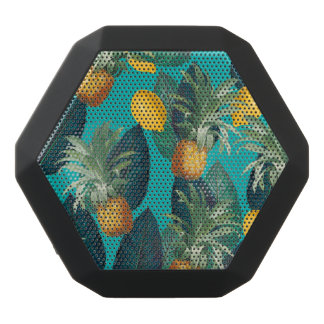 pineaple and lemons teal black bluetooth speaker