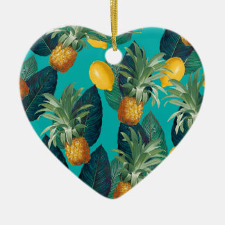 pineaple and lemons teal ceramic ornament