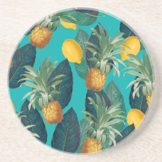 pineaple and lemons teal coaster