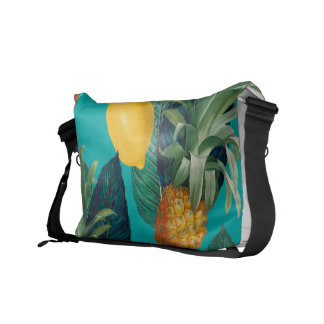 pineaple and lemons teal courier bags