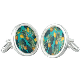 pineaple and lemons teal cufflinks