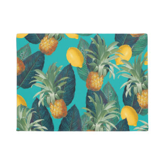 pineaple and lemons teal doormat