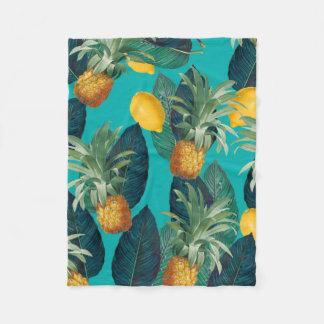 pineaple and lemons teal fleece blanket