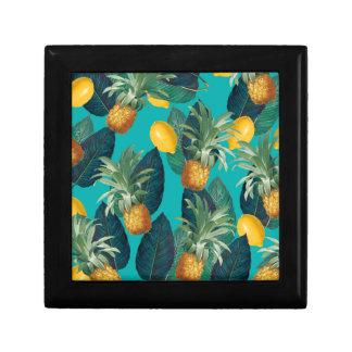 pineaple and lemons teal gift box