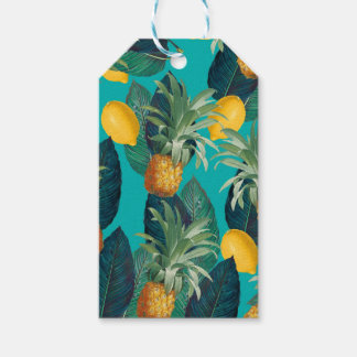 pineaple and lemons teal gift tags