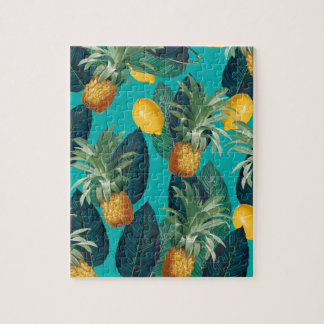 pineaple and lemons teal jigsaw puzzle