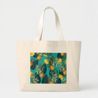 pineaple and lemons teal large tote bag