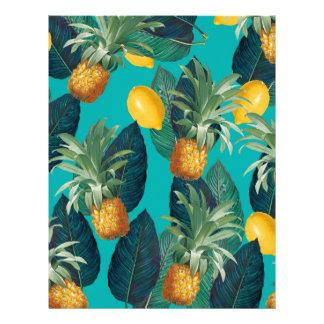pineaple and lemons teal letterhead
