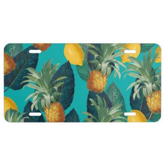 pineaple and lemons teal license plate