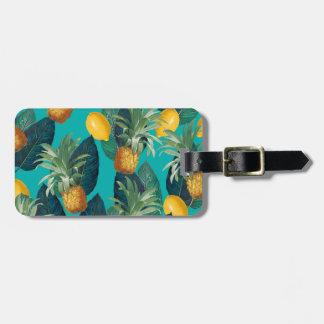 pineaple and lemons teal luggage tag