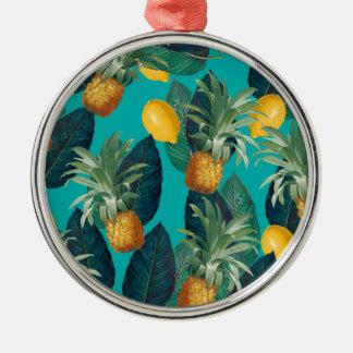 pineaple and lemons teal metal ornament
