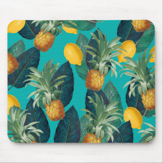 pineaple and lemons teal mouse pad