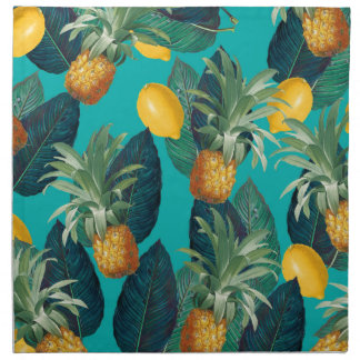 pineaple and lemons teal napkin