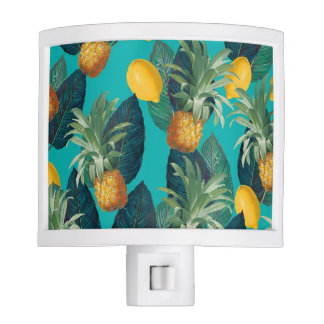 pineaple and lemons teal night lights