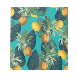 pineaple and lemons teal notepad