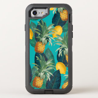 pineaple and lemons teal OtterBox defender iPhone 8/7 case