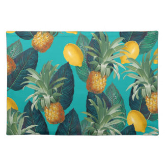 pineaple and lemons teal placemat