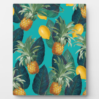pineaple and lemons teal plaque