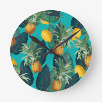 pineaple and lemons teal round clock