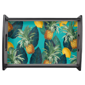 pineaple and lemons teal serving tray