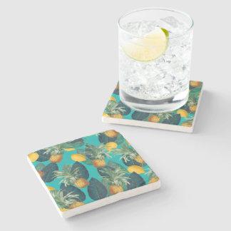pineaple and lemons teal stone coaster