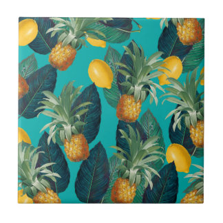 pineaple and lemons teal tile