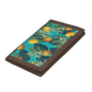 pineaple and lemons teal tri-fold wallet